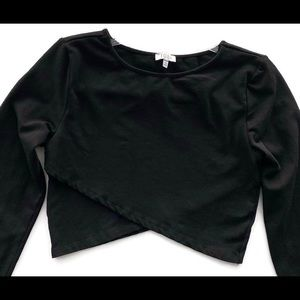 Tobi black long sleeve crop top